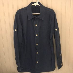 Boys navy blue button down shirt
